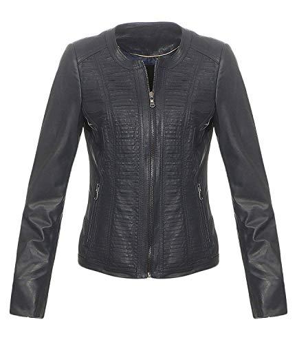 Hollert German Leather Fashion Lederjacke - PATI Damen Echtleder Jacke Bikerjacke Übergangsjacke Lammnappa Leder Größe XL, Farbe Blau