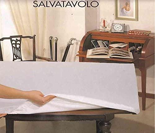 Corredocasa Copritavolo Sotto Tovaglia Mollettone con Elastico Salvatavolo in Feltro-Bianco Disponibile in 4 Misure (Rettangolare x 12 140x220)