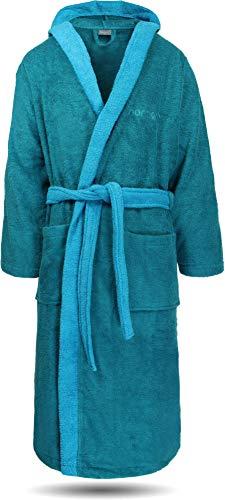 normani 100% Baumwoll Bademantel Saunamantel zweifarbig und einfarbig mit und ohne Kapuze für Damen und Herren [Gr. XS - 4XL] Farbe Petrol/Türkis Größe L