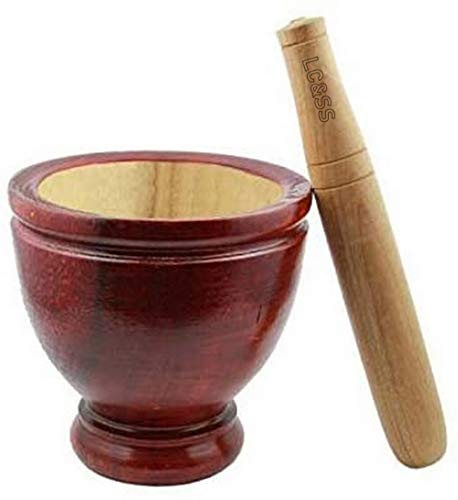Lungcha Mortar with Pestle Natural Wood Kruk Grinding Earthenware Pottery Papaya Salad Somtum Mixer Cookware Food Menu Recipe Home Party Kitchen Tool handmade product from Thailand (20 cm. or 8 in.)