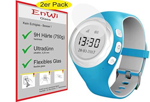 EnWi | 2X Panzer-Glas-Folie 9H Bildschirm-Schutz-Folie für Pingonaut Panda/Panda 2 Kidswatch