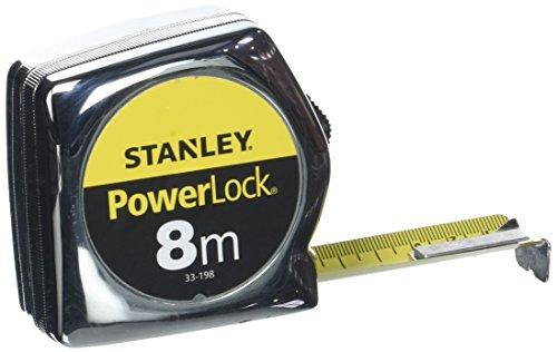 Stanley Powerlock Bandmaß (8m, metrische Skalierung, Feststeller, automatischer Rücklauf, Gürtelclip) 0-33-198