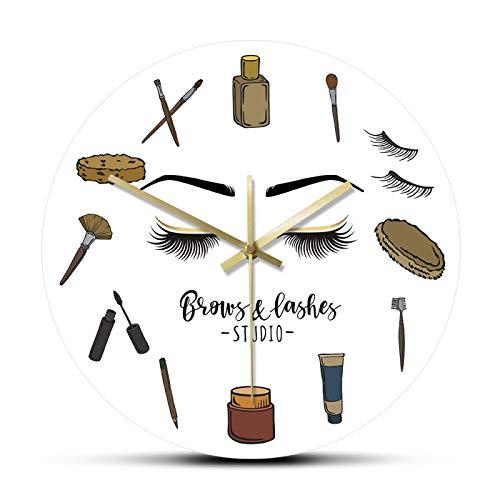xinxin Reloj de Pared Brows Lashes Studio Reloj de Pared de Cuarzo silencioso Cosmetology Wall Art Decor Lash Business Reloj de Pared Esthetician Lash Lady Idea de Regalo para el hogar, la Escuela