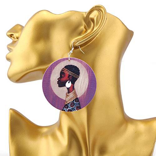 Erin Earring Pendientes Largos De Madera Africanos con Letras Grandes para Mujer,...