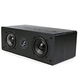 Micca MB42-C Center Channel Speaker with Dual 4-Inch Carbon Fiber Woofer and Silk Dome Tweeter, Black,Micca,MB42-C
