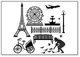 Paris Street Park Tour Eiffel Symboles et icônes français Illustration classique Aimant de réfrigérateur