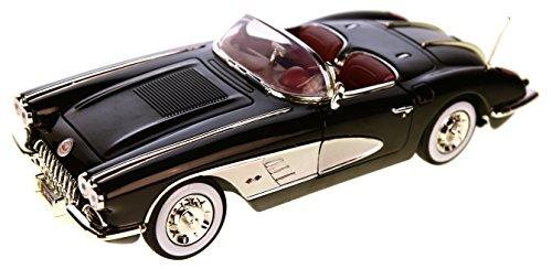 Chevrolet Corvette C1 , schwarz/silber, 1958, Modellauto, Fertigmodell, Motormax 1:18