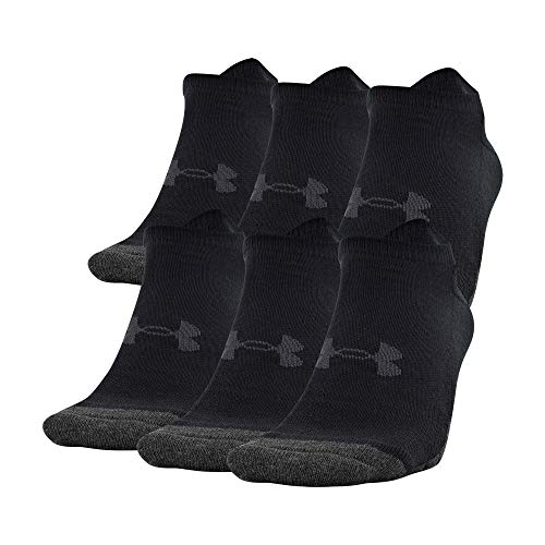 Under Armour Adult Performance Tech No Show Socks, Multipairs, Black (6-Pairs), Large