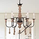 OSAIRUOS French Country Lighting Handmade Wood Chandelier Farmhouse Distressed Rustic Ceiling Light Fixture Hanging for Living Room Bedroom Foyer 6-Lights Dining Room Chandeliers Bonus Bulbs
