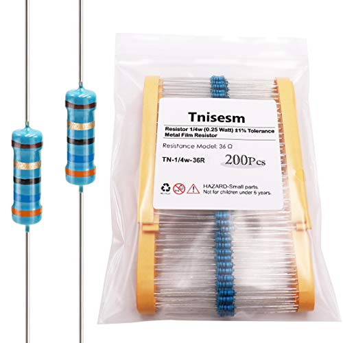 Tnisesm 200Pcs Resistor 36 ohm 1/4W (0.25 Watt) ±1% Tolerance Metal Film Resistor for DIY Projects and Experiments, Multiple Values of Resistance Optional TN-1/4W-36R