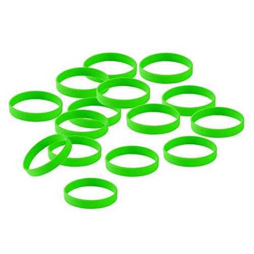 IPOTCH 15 Pezzi Braccialetto in Silicone Unisex, Braccialetto in Gomma, Cinturino in Silicone Impermeabile per Lo Sport, Braccialetto da Uomo - Verde