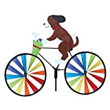 Tenacitee Cute 3D Animal on Bike Windmill Wind Spinner, Cat Dog Bike Spinner Outdoor Toy for Kids Adults, Garden Lawn Yard Party Pinwheel Whirligig Stake Decoration, Rotating Animal Windmill (Dog 02)