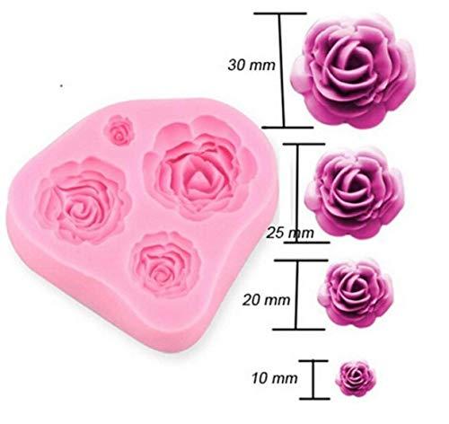 Dorime 4 Größe Rosen-Blumen-Kuchen, der Werkzeuge Form Chocolate Fudge Fimo Sugar Werkzeuge