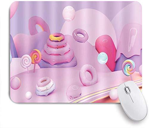 Dekoratives Gaming-Mauspad,Weihnachtsbonbons und Donuts leckeres Essen,Bürocomputer-Mausmatte mit rutschfester Gummibasis