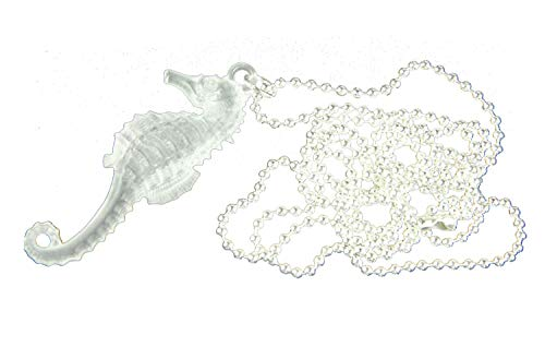 Miniblings Seepferdchen Kette Halskette 80cm Seepferd Ozean Aquarium weiß