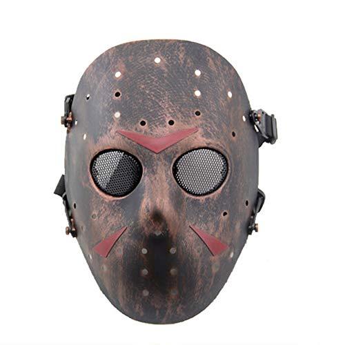 SGOYH Taktisch CS Games Airsoft Paintball Schutz Jason Metall Mesh Masken Volles Gesicht Schutzmaske für Cosplay Kostüm Party Halloween (Kupfer)