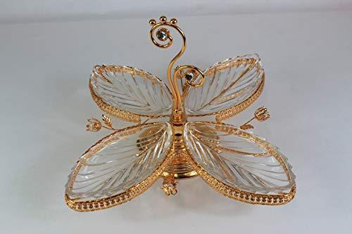 Bador - Ciotola Decorativa per Cabaret, Stile Elegante e Raffinato in Oro, ca. 45 x 45 x 26 cm