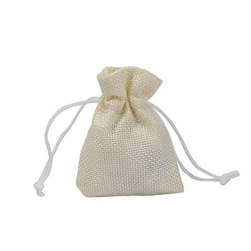 Shulishishop Adventskalender Zum Befüllen Säckchen Zum Befüllen Geschenktasche Weihnachtsdekoration Tasche Dekoration Verpackungsbeutel Mitbringsel Lieferungen Creamy-White,6 pcs