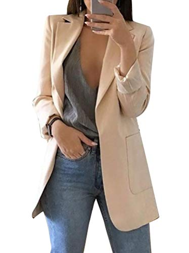 Minetom Damen Elegant Langarm Blazer Sakko Einfarbig Slim Fit Revers Geschäft Büro Jacke Kurz Mantel Anzüge Bolero mit Tasche A Aprikose DE 34