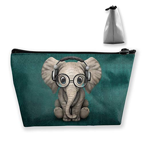 Women Cosmetic bag, Portable Hand-held Travel Makeup Toiletry Pouch Multifunction Organizer Storage Case with Elephant Baby Wearing Glasses & Headphones Patterns