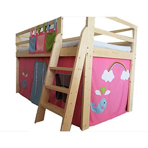 Play House Cama de Cabina Midsleeper con tobogán y Tienda Azul - Rosa - 200cm × 100cm × 85cm