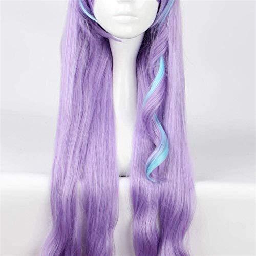 SUCICI Cosplay Peluca Purple Curly Hair Antes de Bangs Pelucas para Las Mujeres Cosplay Disfraz Party Anime Wigs para Las Mujeres