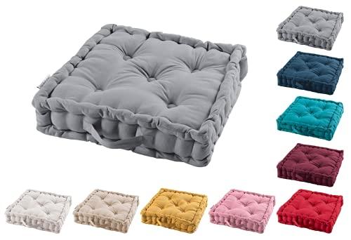 TIENDAEURASIA® Cojines de Suelo - 100% Algodón Lisa - Ideal para sillas, Bancos, palets, Suelos - Uso Interior y Exterior (Gris, 45 X 45 x 10 cm)