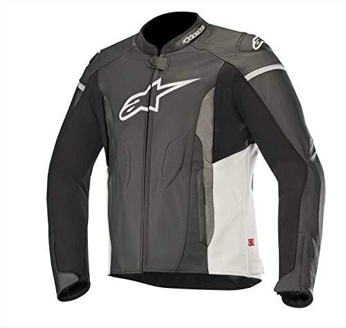Alpinestars Faster - Chaqueta de piel (talla 54), color negro y blanco