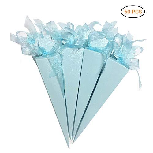 50 snoepjes voor gastgeschenken, speciale vorm, voor Mallalah Chic, chocolade, ballotin van papier, voor bruiloft, doop, verjaardag, party, heilige communie, wit, blauw, roze, 50 stuks Blauw