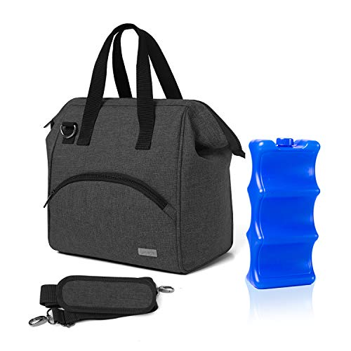 Luxja Breastmilk Cooler Bag with an Ice Pack (Fits 6 Bottles, Up to 9 Ounce), Breastmilk Cooler for Breastmilk Bottles and Small Accessories, Black
