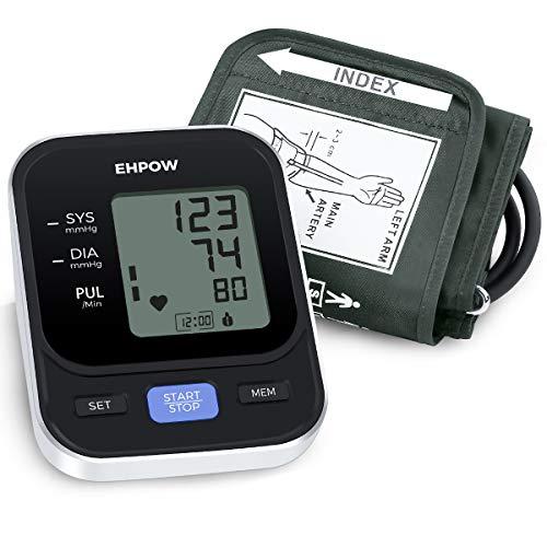 Ehpow Oberarm-Blutdruckmessgerät Digitales Vollautomatisch BP-Gerät für den Heimgebrauch und Pulsfrequenz messgerät mit Manschette 22-42 cm 2 × 90 Speicher und LCD-Display