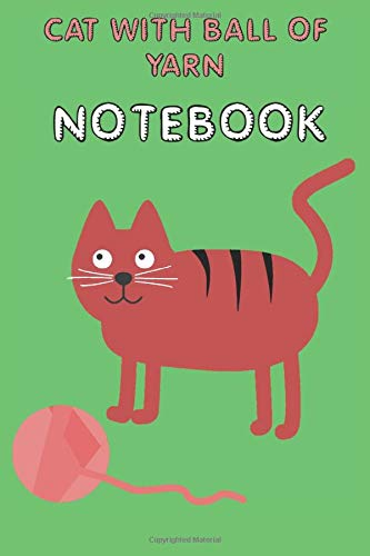 Cat with Ball of Yarn - Notebook - College Ruled - Green - Pink