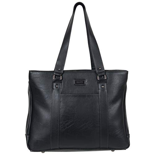 Kenneth Cole Reaction Women's Hit Pebbled Faux Leather Triple Compartment 15' Laptop Business Tote, Black, One Size