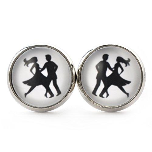 SCHMUCKZUCKER Damen Ohrstecker Tanzpaar Modeschmuck Ohrringe silber-farben schwarz weiss 14mm