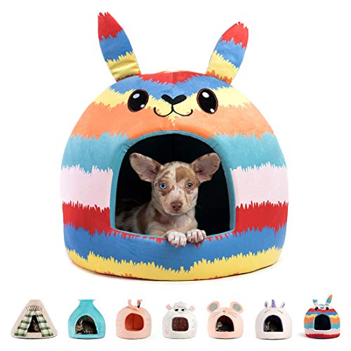 Best Friends by Sheri Novelty Pet Hut in Piñata Blue - 360 Degree Coverage for Comfort and Security, Washable, for Pets up to 15lbs.