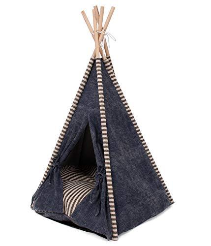 Dehner Ribana Katzentipi van goede kwaliteit, ca. 80 x 68 x 65 cm, zeildoek/hout, grijs/blauw