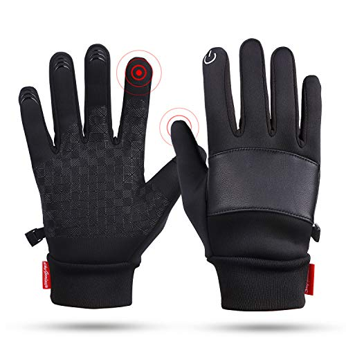 SkyGenius Winter Gloves for Men Women, Thermal Gloves Anti Slip Touchscreen Cold Weather Warm Gloves for Cycling Running Biking Driving Hiking(L)