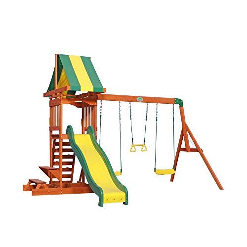 Backyard Discovery Spielturm Holz Sunnydale | Spielplatz für Kinder mit Rutsche, Schaukel, Sandkasten und Picknicktisch | Schaukelset für den Garten
