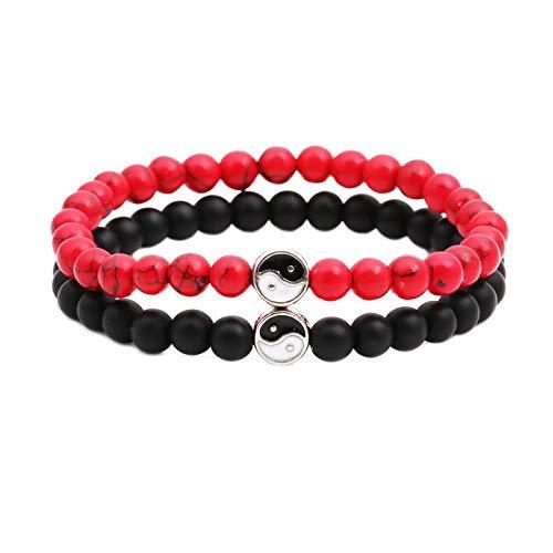 Juego de dos pulseras Ying Yang Healing Chakra Balance Bead Pulseras con ónix negro mate natural y cuentas rojas de howlita y esmalte blanco y negro con incrustaciones de encanto y acabado plateado