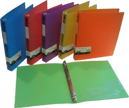 """Filexec 50003-6492 6492, 1"""" Frosted Ring Binder, Set of 6, 6 Assorted Colors, Blueberry, Strawberry, Grape, Lime, Lemon, Tangerine"""