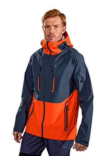Mountain Warehouse Ultra Printed Mens Waterproof Jacket - 20,000mm, Breathable, 3 Layer, Adjustable Hood Raincoat - Best for Wet Weather, Walking, Outdoors & Camping Carbón L