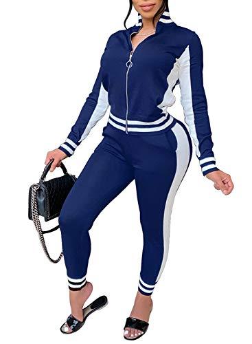 CORAFRITZ Mujer Color Block Traje de Manga Larga Chándal con Cremallera Top Y Pantalones de Chándal Skinny Estampado Rayas Ropa Deportiva Salón