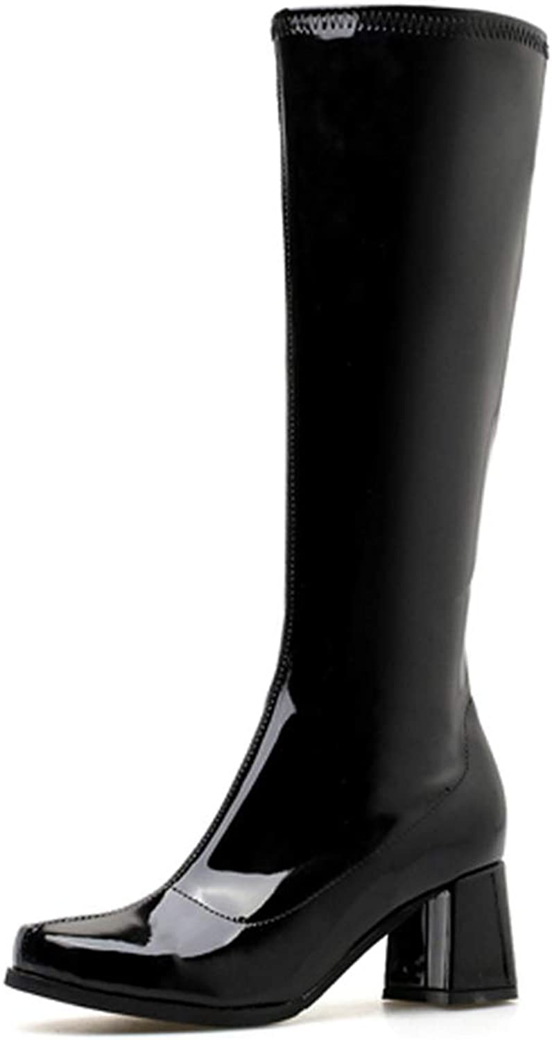 Hoxekle Knee High Boots Bright Square Heel Suede Winter Women Boots Fashion Outdoor Long Boot