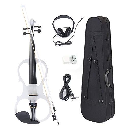 DSENIW QIDOFAN Violine 4/4 Electric Geige Geige Saited Instrument Basswood mit Armaturen Kabel-Kopfhörer-Koffer für Musikliebhaber Anfänger Instrumente (Color : White)