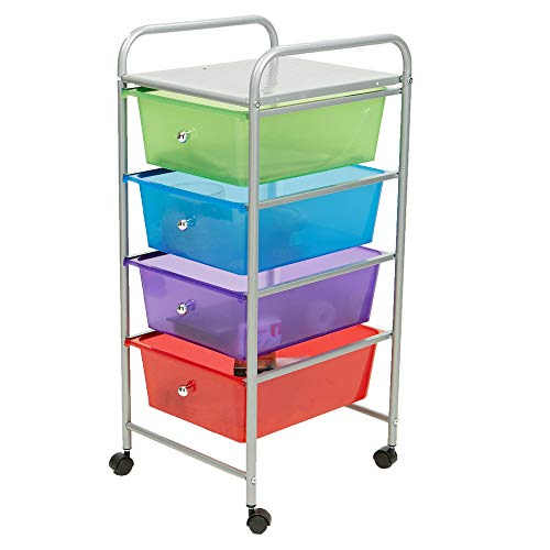 Mind Reader Rolling Storage Cart and Organizer with 4 Plastic Drawers