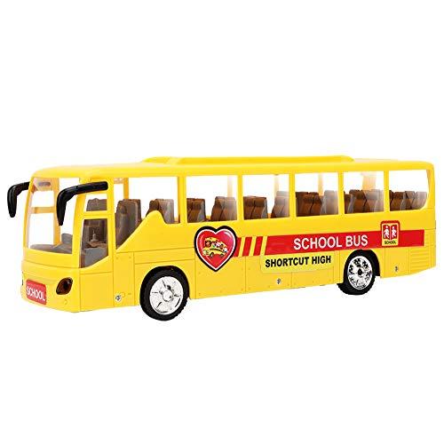 Tnfeeon Juguete Modelo de autobús Escolar de plástico, Modelo de Juguete de niños de Alta simulación de plástico eléctrico con luz y Sonido para niños y niñas(4 Luces)