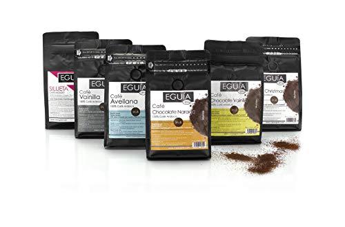 Cafe Molido Natural | Cafe Granos Arabica, Tostado Artesanal | Surtido de Degustacion | Avellana | Chocolate Naranja | Chocolate Vanilla | Vainilla | Silueta | White Chirstmast | 6x250g