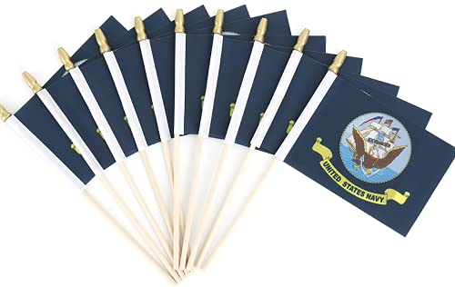 25 Pack US Navy Small Mini Stick Flags United States Military Polyester Flags On Stick,Decorations for Army Party Events Celebration 4x6 Inch