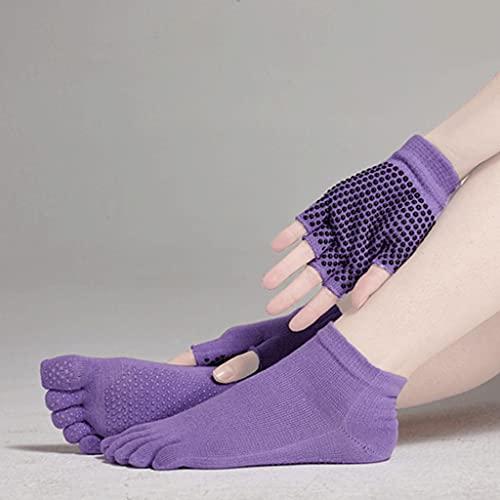 HKDQZ Mujeres de Yoga Calcetines Guantes Conjunto 1 par Calcetines + 1 par Guantes Calcetines de Cinco Dedos + Guantes de Media Dedo Mitones para Fitness Pilates Dance