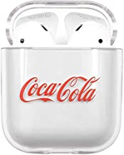 Hard Plastic Transparent Clear Cocacola Case for Apple Airpods 1 2 Wireless Earbuds Red Coca Cola Coke Drink Luxury Designer High Fashion Street Classic Classy Unique Cool Fun Gift Boys Son Kids Men